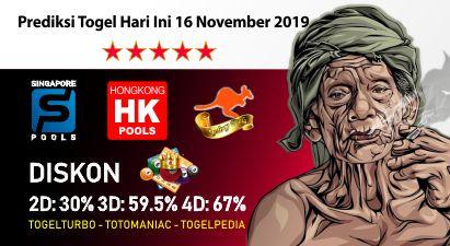 Prediksi Togel Hari Ini 16 November 2019