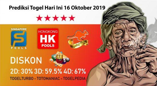 Prediksi Togel Hari Ini 16 Oktober 2019