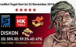 Prediksi Togel Hari Ini 25 November 2019