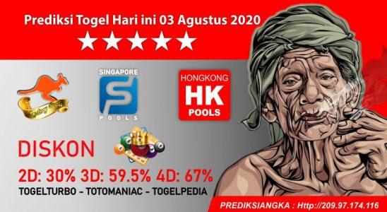 Prediksi Togel Hari ini 03 Agustus 2020