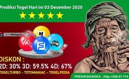 Prediksi Togel Hari ini 03 Desember 2020