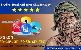 Prediksi Togel Hari ini 03 Oktober 2020