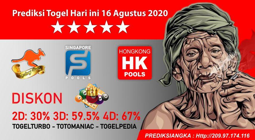 Prediksi Togel Hari ini 16 Agustus 2020