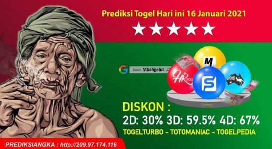 Prediksi Togel Hari ini 16 Januari 2021