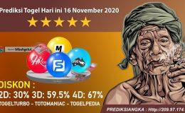 Prediksi Togel Hari ini 16 November 2020