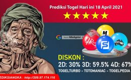 Prediksi Togel Hari ini 18 April 2021