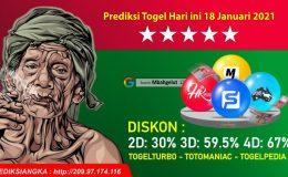 Prediksi Togel Hari ini 18 Januari 2021