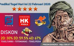 Prediksi Togel Hari ini 22 Februari 2020