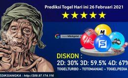 Prediksi Togel Hari ini 26 Februari 2021