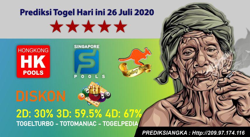 Prediksi Togel Hari ini 26 Juli 2020