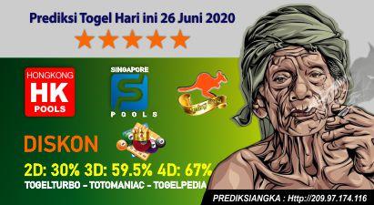 Prediksi Togel Hari ini 26 Juni 2020