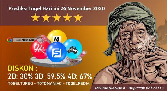 Prediksi Togel Hari ini 26 November 2020