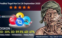 Prediksi Togel Hari ini 26 September 2020