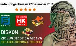 Prediksi Togel Hari ini 27 Desember 2019