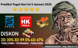 Prediksi Togel Hari ini 5 Januari 2020