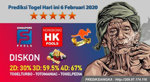 Prediksi Togel Hari ini 6 Februari 2020