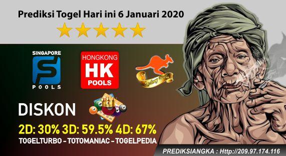 Prediksi Togel Hari ini 6 Januari 2020