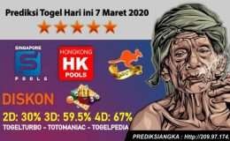 Prediksi Togel Hari ini 7 Maret 2020